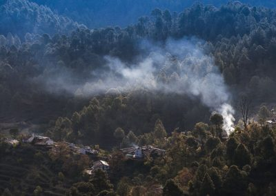 Smoke from village houses